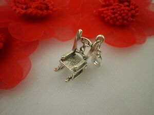 925 Sterling Silver Rocking Chair Chip on Charm Pendant