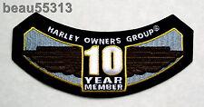HARLEY DAVIDSON OWNERS GROUP HOG H.O.G. 10 YEAR MEMBER VEST JACKET PATCH