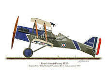 SE5A 1917 Vintage Aircraft Profile Artwork A3 Glossy Print Bishop VC WW1 signed