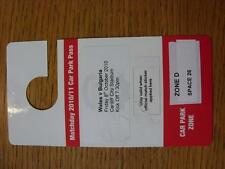 08/10/2010 Ticket: Wales v Bulgaria [At Cardiff City] Car Park Pass