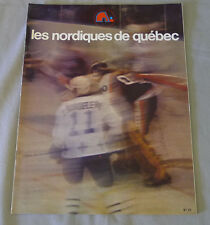 1977-78 WHA Quebec Nordiques vs New England Whalers Hockey Program  # 2