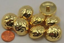 """Lot of 8 Large Shiny Domed Gold Tone Plastic Buttons 1"""" 25mm # 6746"""
