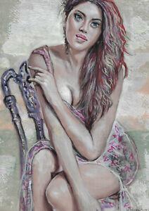 original painting A4 479UV art samovar modern Mixed Media female half naked