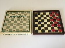 "Small 6"" Vintage Travel Game Set Magnetic Checkers With Box 1962"
