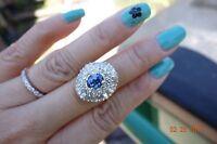 Blue Tanzanite diamond 2cts Diamond cluster cocktail dinner ring