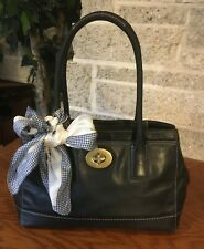 COACH MADELINE 12482 CARRYALL BLACK LEATHER HANDBAG BAG SATCHEL PURSE TOTE