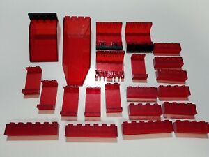LEGO 22 Teile classic space steine Platten panele transparent rot red
