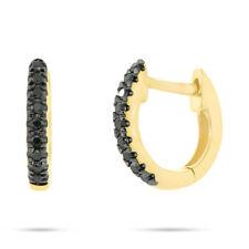 0.06CT 14K Yellow Gold Natural Black Diamond Mini Huggie Earrings Helix Piercing