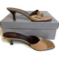 Donald J Pliner Couture Katz Brown Tan Leather Slip On Sandal Kitten Heels 9.5 M