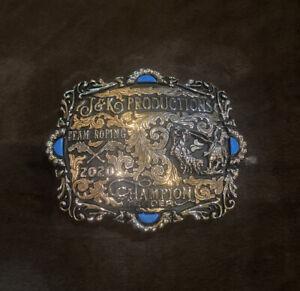 Trophy Rodeo Champion Belt Buckle Team Roper Roping Header