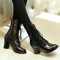 Women Fashion High Heels Pointed Toe Lace up Ankle Boots Shoes Size 33-47 B129