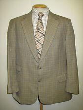 "Genuine Burberry men's light brown check wool blazer Jacket 44"" R Euro 54 R"