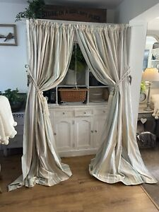 LAURA ASHLEY Awning Stripe Duck Egg Blue Large Cotton Curtains Shabby Chic 89x89