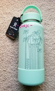 NWT 32oz Wide Mouth Hydro Flask HAWAII Exclusive Seafoam Mint Palm Trees w/ Boot
