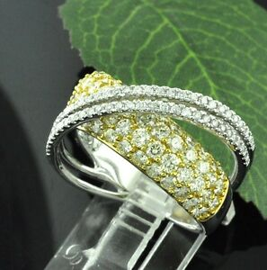 2.40 ct 14k 2 tone Gold Ladies White Canary Natural Diamond Ring Bypass  Bridge