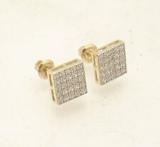 Unisex Square Micro Pave Set CZ Stud Earrings Screw Back Real 10K Yellow Gold