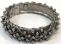 Vintage HOBE Signed Ribbon Balls Cast Metal Bengal Snap Shut Jewelry Bracelet