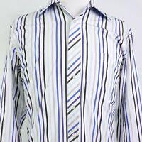 TED BAKER LONDON LONG SLEEVE STRIPED BUTTON DOWN DRESS SHIRT MENS SIZE 16 34/35