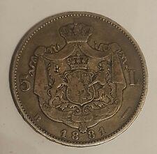 ROMANIA / 1881B 5 Silver Lei Carol I !!