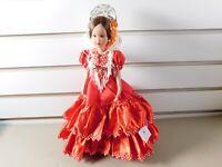 Vintage Marin Chiclana Espana FLAMENCO DANCER Red Dress w/ Stand. Made in Spain