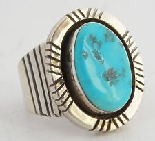 Native American, Navajo Sterling, large & heavy Turquoise ring by George Nakai