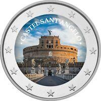 2 Euro Gedenkmünze mit  coloriert  Farbe / Farbmünze  Rom Engelsburg   / Italien