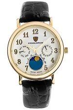 Conqueror Caritas CNQMF-031914 Moon Chronographic Black Leather Men's Watch