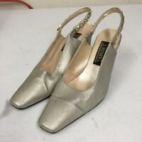 J Renee Size 8 M Closed Toe Heel Sandals Stone Studded Strap Silver Leather