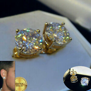 Men's Statement 9mm Simulated Diamond 18K Yellow Gold Filled Stud Earrings, BOXD