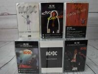 Cassette Lot x6 AC/DC Be Rock Blood Powerage Fly Wall Flick Switch Back In Black