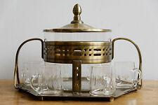 Große ART DECO BOWLE BOWLENSET mit TABLETT TAFELAUFSATZ um 1920/30 MESSING GLAS
