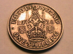 1938 Great Britain George VI 1 Shilling Ch XF Original Old Toned Silver UK Coin