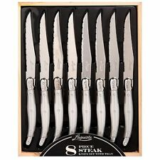 Laguiole Style Steak Knife Set of 8 in Wood Tray Mother of Pearl Handles