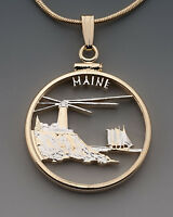 "Maine State Quarter Coin Pendant Necklace. Hand cut - 7/8"" diameter #2023"