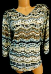 Boworth brown grey women's plus size waves 3/4 sleeve v-neck spandex top  XLP