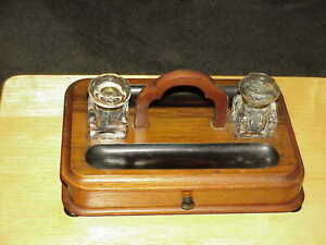 Antique Victorian Walnut Double Inkwell Stand Pen Holder Tray & Drawer Dovetail