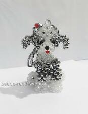Handmade Crystal Beads poodle Dog Figurine Cell Phone Bag Charm Keychain