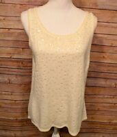 Casual Corner Women's Knit Tank Top Sequins Bling Ivory Size XL