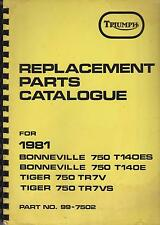 TRIUMPH BONNEVILLE 750 T140E/ES & TIGER 750 TR7V/S 1981 FACTORY PARTS CATALOGUE