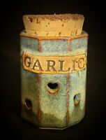 Garlic Keeper Pottery Jar Vented Blue Rustic Cork Signed by Artist 》