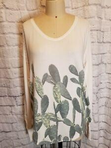 Lululemon SZ 10Weekend Prickly Pear Cactus Print White Long Sleeve Tee Shirt Top