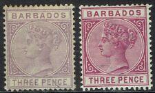BARBADOS 1882 QV 3D BOTH COLOURS