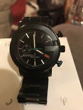 GUCCI LUXURY MENS BLACK SWISS CHRONOGRAPH WATCH - TIMED TO PERFECTION