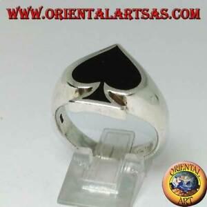 Anello in argento 925 ‰ Asso di Picche con onice sintetica resina nera