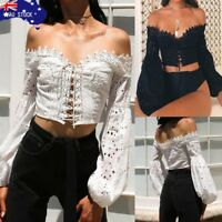 AU Fashion Sexy Women Off Shoulder Long Sleeve Hollow Lace Up Blouse Top T-Shirt