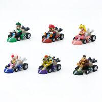 6 pcs Nintendo Super Mario Bro Car PVC Toy Figure Kids Gift Luigi Bowser Yoshi