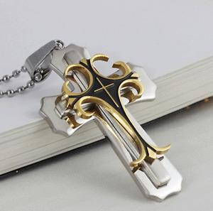 Cross Pendant Necklace Stainless Steel Crucifix Cuban Gold Black Men Unisex New