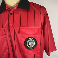 United States Soccer Federation Referee Shirt Red Striped 2002 Patch Polo XL USA
