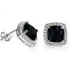 Gorgeous Princess Onyx & White Sapphire Halo Earrings in Sterling Silver