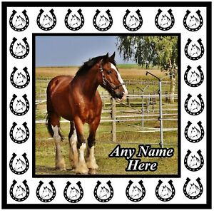 PERSONALISED HORSE PHOTO & NAME ON A LARGE SQUARE SOUVENIR FRIDGE MAGNET / GIFTS